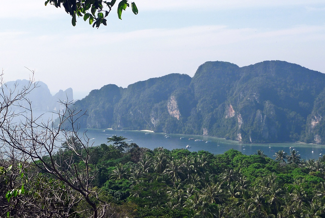 Ko Phi Phi Don Island, Thailand From the hilltop above Phak Nam Bay. photos by Globe Trodden.