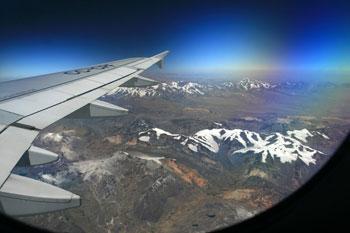 Flying over the Andes toward Puerto Maldonado