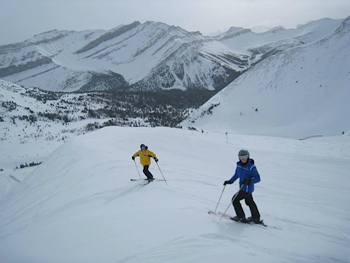 skiers in Alberta Canada.