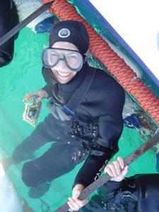 Staff member Amy enjoying Shark Diving