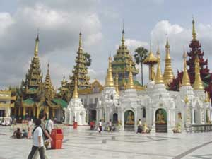 One side of the Shwedagon Pagoda