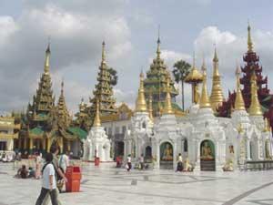 One side of the Shwedagon Pagoda