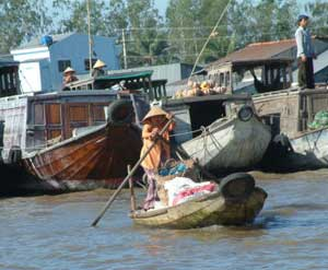Floating merchants in the Cai Rang market