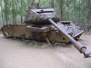 An American tank rusts away in the jungles of Vietnam.