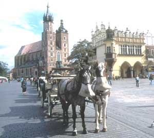 A horse-drawn carriage in Krakow