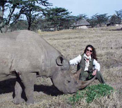 Lynne and Morani the rhinoceros