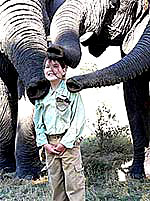 A visitor is greeted by elephants.