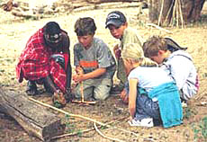 Kids learn to make fire at the lodges.