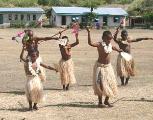 Boys practicing traditional dances in Fiji
