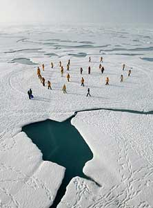 Open water at the North Pole is seen by some as a sign of global warming.