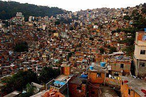 Closely packed shacks in Rocinha, Rio de Janiero, Brazil.