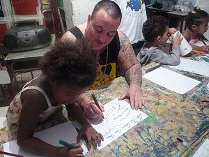 Zezinho teaching local kids.