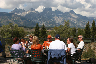 Lunch with the Rockies right behind you.