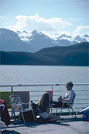 Enjoying the scenery on an Alaskan ferry.