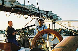 Capt Doug at the helm. photos by Kent E. St. John.