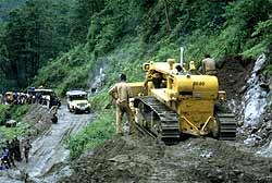 Landslide on the road near Ladakh.