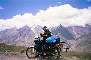 The Himalayas form a perfect background for this intrepid Indian biker. photos by the Srinidhi Raghavendra.