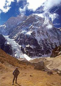 Trekking in the Himalayas.