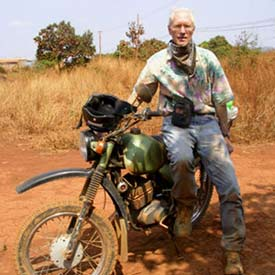 Rider with his Russian Minsk motorcycle.