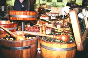 Barrels of marinated olives in Cork's English market - photo by Jaclyn Stevenson