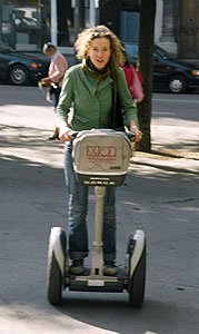 Journalist Aiden Fitzgerald tries to put the brakes on her Segway ride in Dijon. Photo by Jaclyn Stevenson