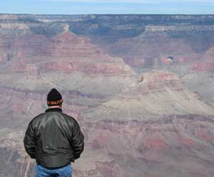 The author's traveling companion, Dan Lemelin, views the South Rim of the Grand Canyon.