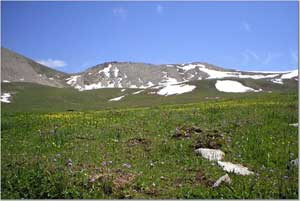 Snow in July in the Tien Shan Mountains