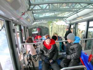 The Flobanen Funicular and ski passengers