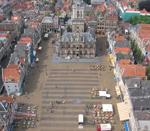 The view from the top of the New Church Tower in Delft