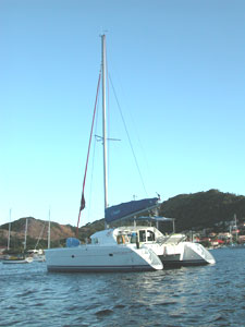 The 47-foot catamaran the author chartered from Sunsail.