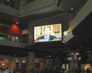 CNN Center's center court, a place for eating, shopping, and catching up on the headlines of the day.
