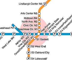 The MARTA map shows how simple Atlanta's rail system is to navigate. Photos by Jaclyn C. Stevenson