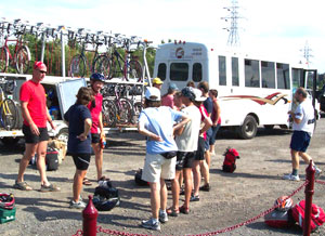 Loading up the shuttle bus for the ride up to our starting point on the north end of the trail