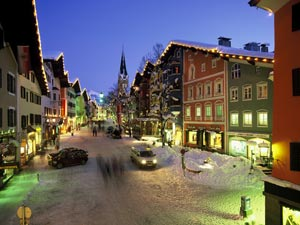 Downtown Kitzbuhel at night. photo Kitzbuhel tourismus.