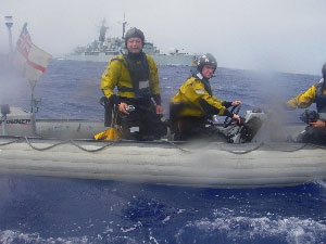 Crewmen from HMS Southampton deliver a valentine to Roz in the middle of the Atlantic Ocean.