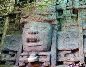Mayan sculptues at Lamanai