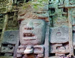 Mayan sculptues at Lamanai