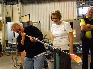 Kent blowing glass at Kosta Boda