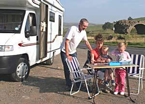 A family enjoying their vacation on wheels