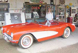 Connie at the Hackberry General Store with a Corvette Stingray just like the one in the television series