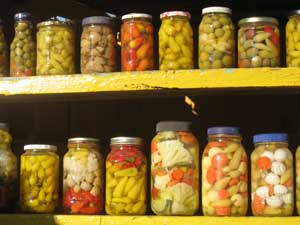 Local olives, pickled peppers and vegetables