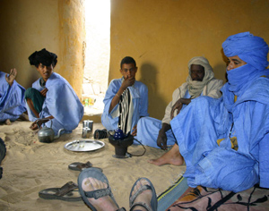 Tauregs meeting in their blue dyed robes.