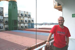 Andrew Horsman on the deck of the Beltram Trader, en route to Brisbane, Australia. photos by Andrew Horsman
