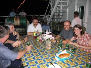 Enjoying dinner with the MV Beltram Trader crew.