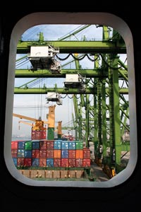 View from the cabin of the Beltram Trader freighter.