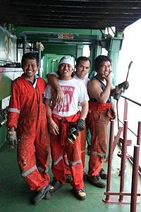 The friendly Filipino crew of the MV Beltram Trader.