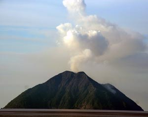 Pulau-Kombo volcano off the coast of Indonesia.