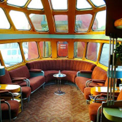 The observation lounge of a private railroad car.
