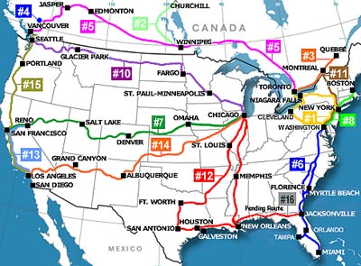 Route map of Trainshares private rail trips.