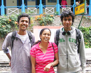 Mridula Dwivedi withDilip and Sunil, also known as Brat One and Brat Two